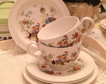 Royal Cauldon Ironstone Teacup Trio in Paradise Pattern 1960's idea for your tea party