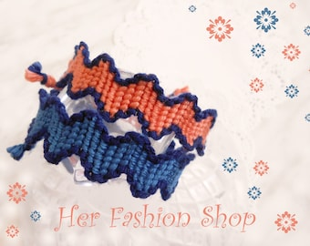 ZigZag Handmade Custom Friendship Bracelet, woven cotton thread, choose color.