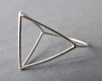 Architectural Ring Sterling Silver Modern Minimalist Ring Geometric Ring by SteamyLab