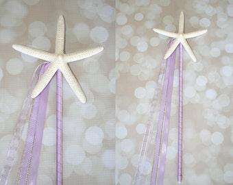 Light Purple Mermaid Starfish Birthday Wand/Beach Wedding Decor/Bridesmaid Flowergirl/Beach Wedding Aisle Decor-Many Colors To Choose