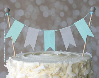 Aqua & Grey Birthday Shower Cake Bunting Pennant Flag Cake Topper-MANY Colors to Choose From!  Birthday, Shower Cake Topper