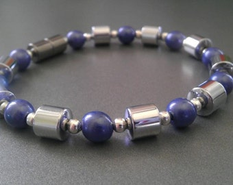 Blue Pearlized Magnetic Bracelet with Silver Metallic Magnetic Beads!
