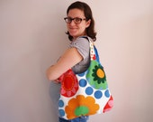 Flower tote bag, bright colored tote with flowers. Let this tote bag brighten up your day.