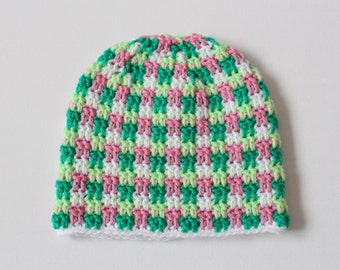 Baby hat, crocheted baby hat for 0-3 month old babies, green, pink and white hat