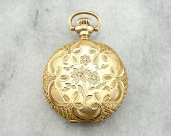 1900's Antique Waltham Floral Motif Hunters Fine Gold Pocket Watch RCQHCJ-N
