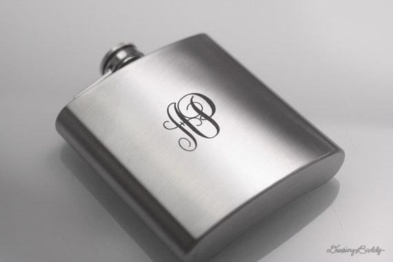Initials Engraved Monogram  - Laser Engraved Liquor Hip Flask