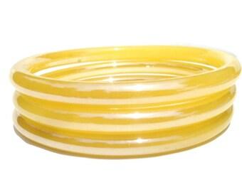1960s Set of 3 Vintage Yellow  Glass Bangle Bracelets