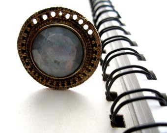 Repurposed /Upcycled Vintage Large Blue Stone Disk Earring in a Bronze Tone Ring, Eco Chic Ring.