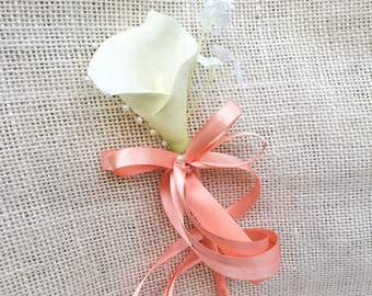 Calla Lily Wedding Flower Girl Wand - Pearls and Ribbon in your Colors!