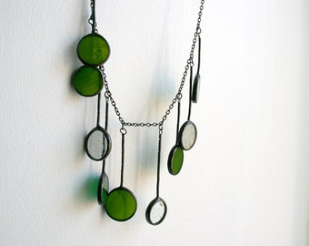 Statement green gray handcrafted necklace, stained glass jewelry, summer fashion, Drop Necklace