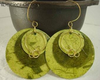 Light Green and Dark Green Banana Paper Earrings
