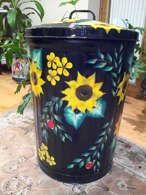 decorative hand painted 20 gallon galvanized by krystasinthepointe. Black Bedroom Furniture Sets. Home Design Ideas