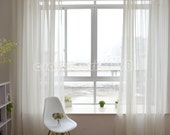 """2 x Custom Made French Country Provincial Simple Modern White Sheer  Curtain Panel Q011 50""""wide x 102""""drop"""