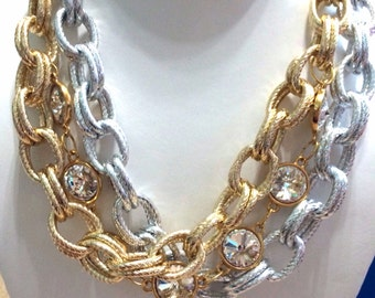 Silver & Gold Chain and Swarovski Rhinestone Necklace