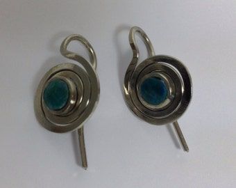 Spiral earrings with chrysocolla  elegance
