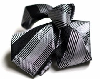 Tie (3 inch) in Stripes with Black and Grey