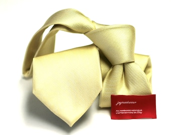 CANARY Yellow Silk Tie (3 inch) in Solid Tonal  (pocket square available)