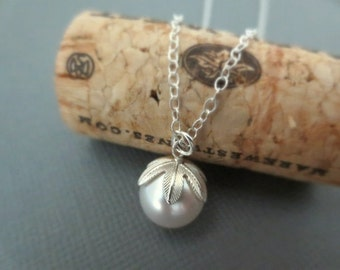 Swarovski Crystal Pearl Necklace in STERLING SILVER CHAIN--White Pearl Necklace--Perfect Gift for mom for friends, Birthday Present for her.
