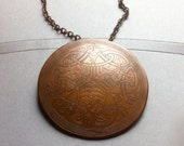 Huge Vintage Copper Celtic Boho Hippie Disc Pendant Necklace