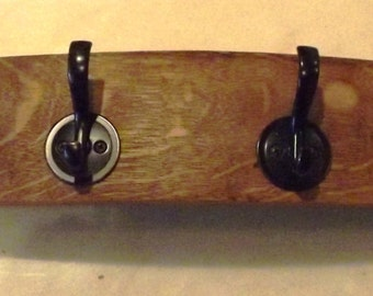 Wine Barrel Stave Hat and Coat Rack with Four Hooks, Home Decor, Storage