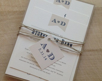 Wedding Invitation Suite Deposit // Rustic and Vintage //  Twine and Burlap // Purchase this Deposit Listing to Get Started