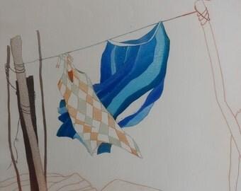 """Charlotte Reine """" Habits De Fete """" Original Etching Art"""