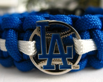 Los Angeles Dodgers Paracord Bracelet with Licensed Charm - Double Core