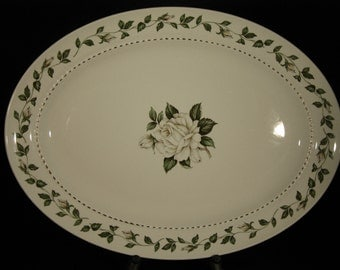 """Hall China """"Cameo Rose"""" 13"""" Oval Serving Platter"""