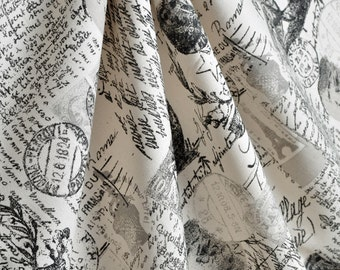Upholstery Fabric  Drapery French Script Paris Eiffel Tower Black script Etsy
