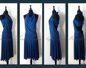 Solid Color, Halter, Backless,  Tango dress from stretch fabric ( dress + top)