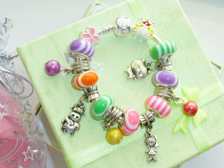 kids charm bracelet farm yard animals candy stripe choose