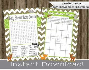 Woodland Animals Baby Shower Games / Bingo and Word Search Cards brown chevron and lime green INSTANT DOWNLOAD diy  printable files