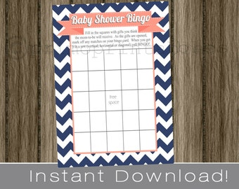 Baby Shower Bingo Game Cards - navy blue chevron and coral - INSTANT DOWNLOAD-  diy digital printable file print your own , babyshower