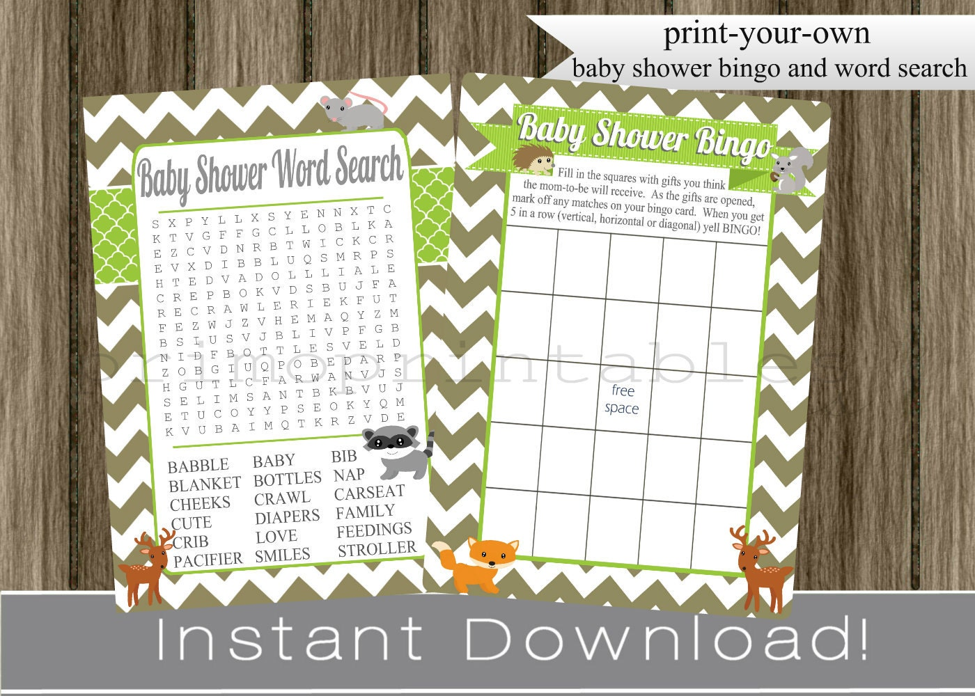 woodland animals baby shower games bingo and word search