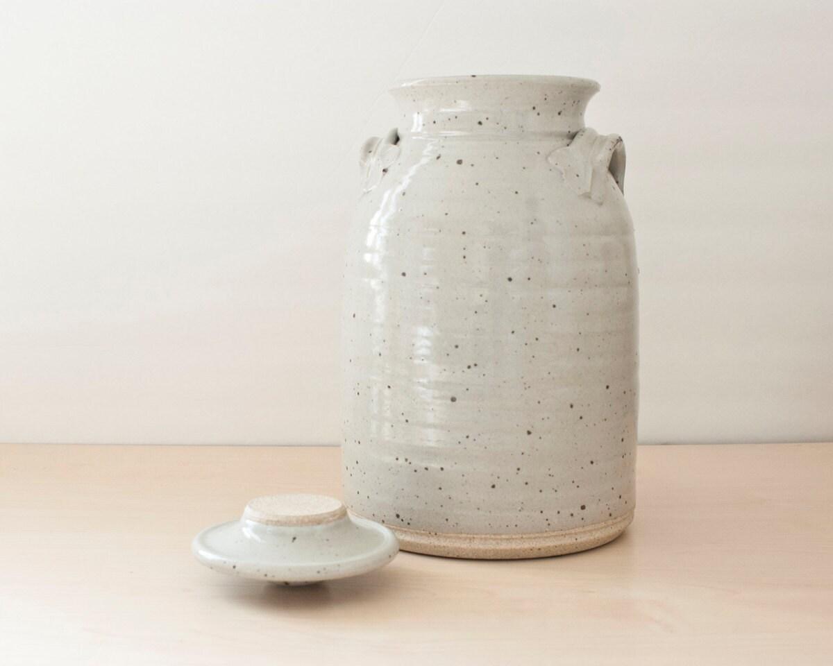 Vintage Speckled Crockery Tea Jar Drink Dispenser Crock