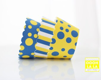 Blue and Yellow Cupcake Wrappers- Set of 12