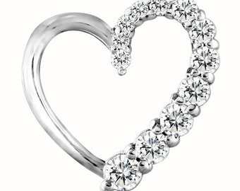 Sterling Silver Beautiful Heart Shaped Fashion Pendant with Diamonds G-H I2-I3