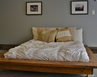 Floating Rustic Wood Platform Bed Frame-Quilmes
