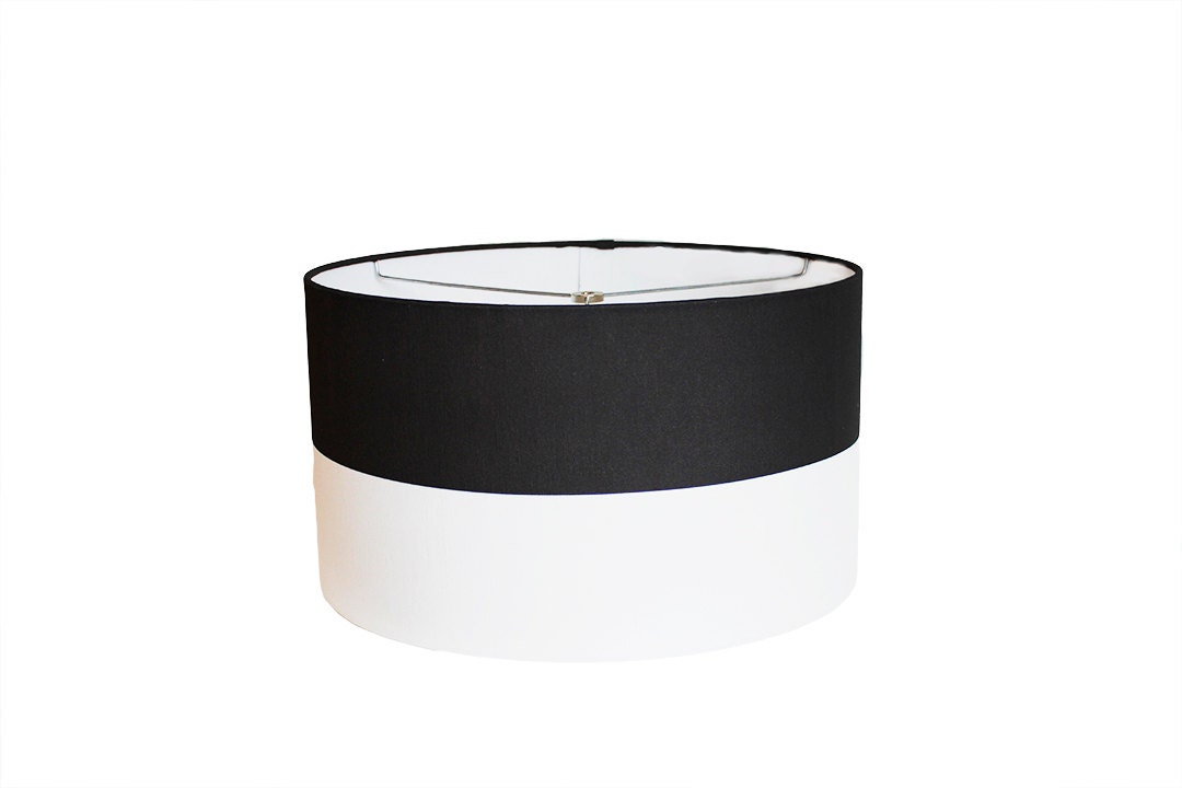 to modern drum lamp shade black and white 16 w x 9 h on etsy. Black Bedroom Furniture Sets. Home Design Ideas