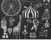 """Circus Chalk Clip Arts """"CIRCUS CHALK CLIPART"""" 20 hand drawn chalk circus clip art & chalkboards,clown,flag, ferris wheel,horse,elephant tent"""