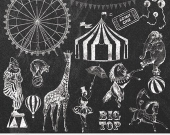 "Circus Chalk Clip Arts ""CIRCUS CHALK CLIPART"" 20 hand drawn chalk circus clip art & chalkboards,clown,flag, ferris wheel,horse,elephant tent"