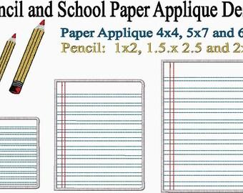 School Paper Applique and Pencil Embroidery Design
