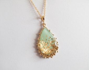 Mint Gold Drop Necklace - Adjustable necklace