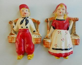 Antique Plaster Chalkware Dutch Boy & Girl Wall Hangings