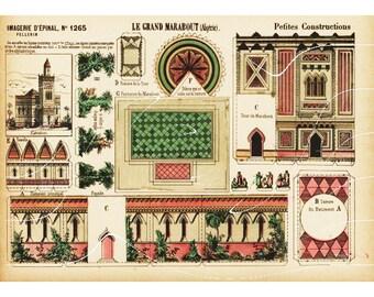 Original Antique Architectural Print Petites Constructions Le Grand Marabout