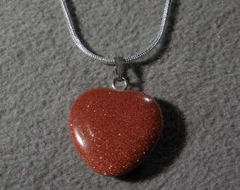 Vintage  Sterling  Silver  bold Goldstone  Puffed Heart pendant  Charm Necklace Chain      W