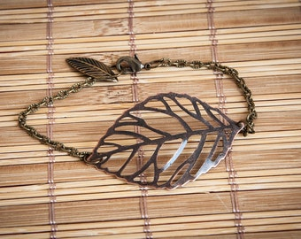Bracelet with big metal leaf, bracelet with leaves, bronzed metal