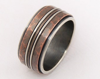 Rustic mens ring - silver copper ring,men engagement ring,men wedding band,unique men's ring,wide ring