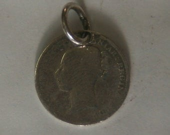 1882 3p thrupence sterling silver 925 coin pendant Victorian