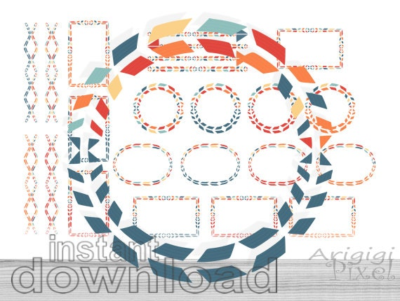 tribal frames clipart set with matching papers and dividers - instant download